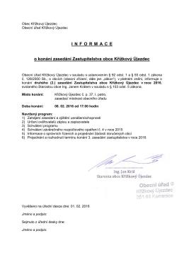 INFORMACE o konání zasedání Zastupitelstva obce Křížkový Újezdec