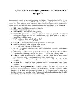 Vysvětlivky k výčtu konsolidovaných jednotek státu a dalších