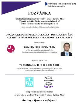 POZVÁNKA Fakulta technologická Univerzity Tomáše Bati ve Zlíně