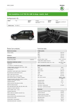 Yeti Ambition 2.0 TDI 81 kW 6-stup. mech. 4x4