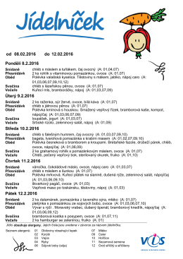 jidelnicek – 8.2. – 12.2.2016