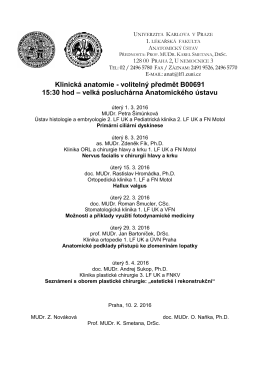 Klinická anatomie - Anatomický ústav 1.LF UK