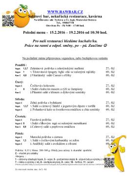 Polední menu - 8.2.2016 – 12.2.2016 od 10:30 hod. Pro