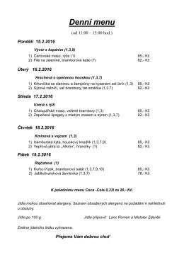 Denní menu - SPORTHOTEL RELAX
