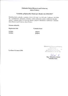 Přijímací řízení - doplnění 2 - Základní škola Březová nad Svitavou