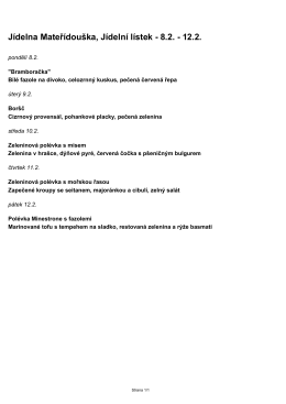 Jídelna Mateřídouška, Jídelní lístek - 8.2.