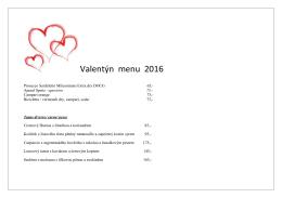 Valentýn menu 2016