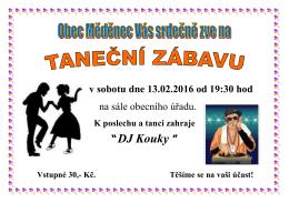 Taneční zábava 13.2.2016 od 19.30 hodin na sále obecního úřadu