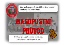 Sbor dobrovolných hasičů Semčice pořádá v sobotu 20. února 2016