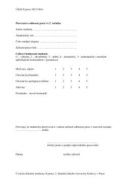 ÚKM II - Potvrzení a hodnocení praxe