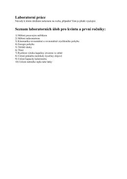 Seznam laboratorních prací