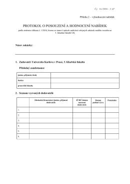 protokol o posouzení a hodnocení nabídek
