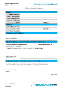 Žádost o poskytnutí stipendia
