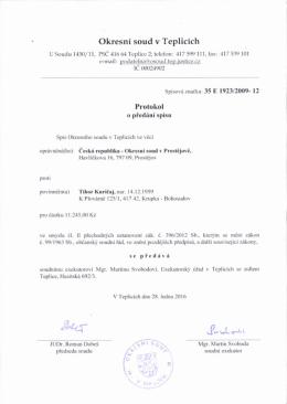 Page 1 Okresnl soud v TeDlicich USoudu1450/11, rSC 416 64