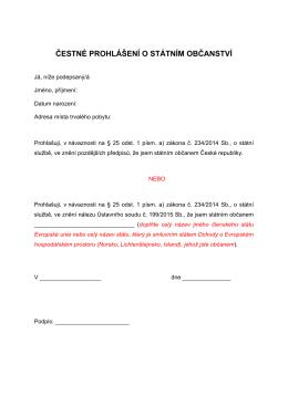 Čestné prohlášení o státním občanstvíPDF