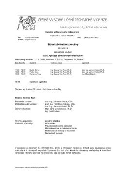 Státní závěrečné zkoušky - Katedra softwarového inženýrství