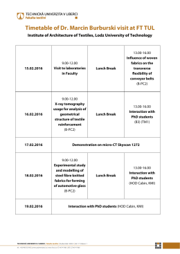 Timetable of Dr. Marcin Burburski visit at FT TUL