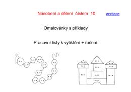 Násobení a dělení číslem 10 Omalovánky s příklady Pracovní listy k
