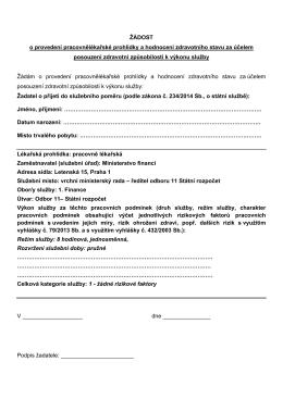 Žádost o provedení pracovnělékařské prohlídkyPDF