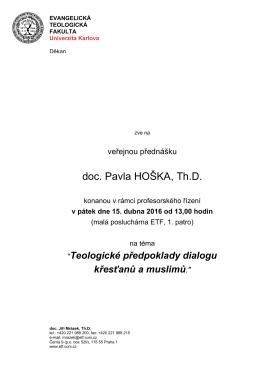 doc. Pavla HOŠKA, Th.D. - Evangelická teologická fakulta