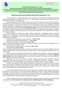 Informacja dla pracowników Electropoli Poland Sp. z oo
