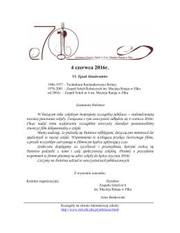 4 czerwca 2016r. - Zespół Szkół nr 6 im. Macieja Rataja w Ełku