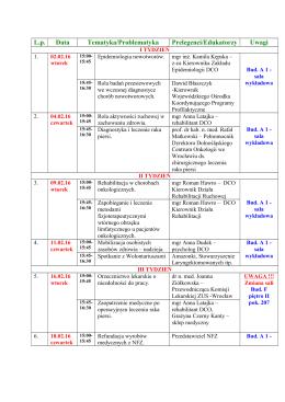 Harmonogram spotkań od 02.02..2016