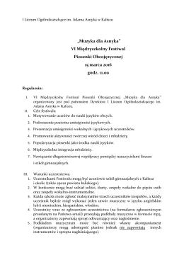 Regulamin - I Liceum Ogólnokształcące im. Adama Asnyka w Kaliszu