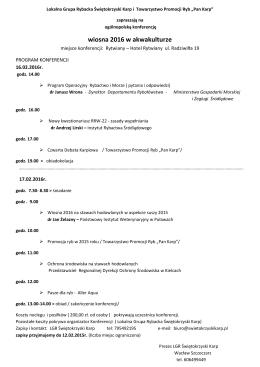 """PROGRAM KONFERENCJI """"Wiosna 2016 w akwakulturze"""""""
