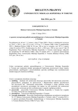 biuletyn prawny - Uniwersytet Mikołaja Kopernika