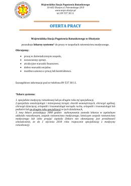 oferta pracy - WSPR Olsztyn
