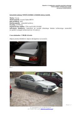 Samochód osobowy TOYOTA AVENSIS 1.8 SEDAN zielony metalik