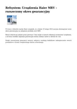 Refsystem: Urządzenia Haier MRV – rozszerzony