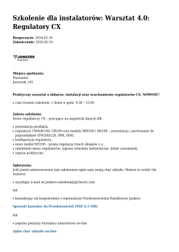 Szkolenie dla instalatorów: Warsztat 4.0