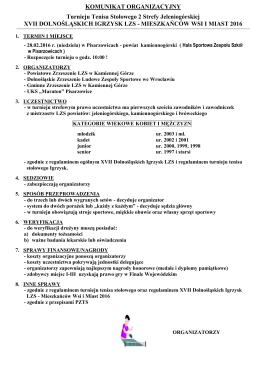 Komunikat org - Dolnośląskie Zrzeszenie LZS