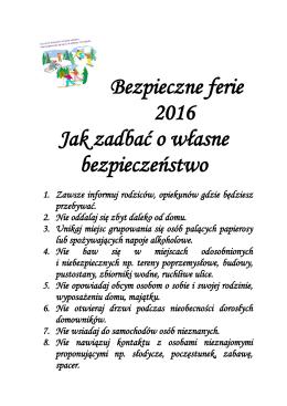 Bezpieczne ferie - Sp8dabrowag.pl