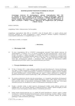 ROZPORZĄDZENIE WYKONAWCZE KOMISJI (UE) 2016/ 185