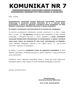 Komunikat Nr 7 Przewodniczącego UKW w sprawie sprostowania