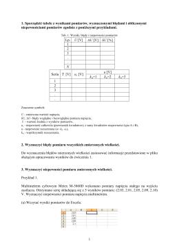 Opracowanie wyników pomiarów do ćwiczenia 3