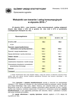 Wskaźniki cen towarów i usług konsumpcyjnych w styczniu 2016 roku
