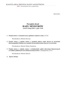 9 lutego 2016 r. - BIP Rady Ministrów i Kancelarii Prezesa Rady