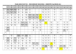PLAN LEKCJI W SP 54 – ROK SZKOLNY 2015/2016 – SEMESTR II