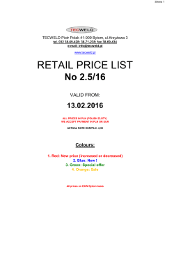 Price list retail ver. ENG.