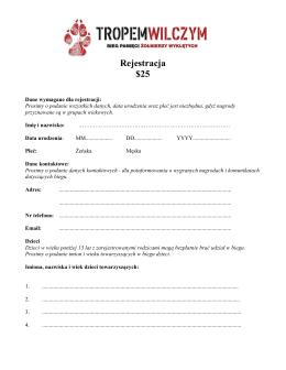 dane wymagane w formularzu