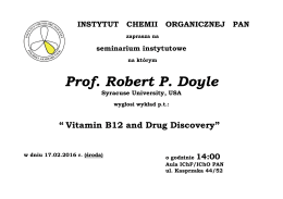 Prof. Robert P. Doyle - Instytut Chemii Organicznej PAN