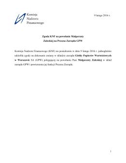 1 Zgoda KNF na powołanie Małgorzaty Zaleskiej na Prezesa