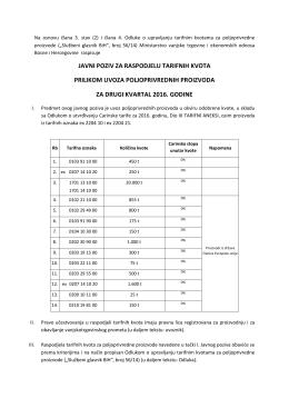 javni poziv za raspodjelu tarifnih kvota prilikom uvoza