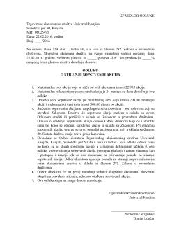 Predlog odluke skupštine o sticaju sopstvenih akcija. 22.02.2016