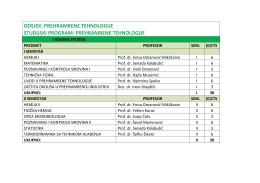 ODSJEK: PREHRAMBENE TEHNOLOGIJE STUDIJSKI PROGRAM