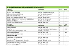STUDIJSKI PROGRAM: VINOGRADARSTVO I VINARSTVO